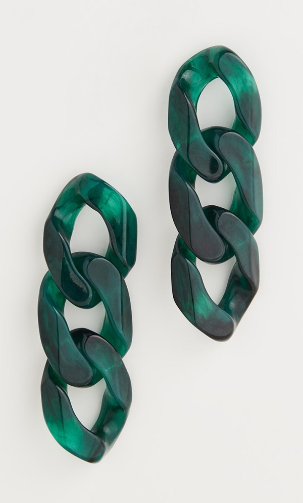 Chain link drop earrings crafted from emerald green resin