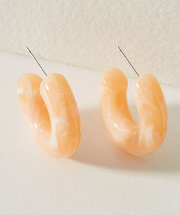 Thick peach hoop earrings