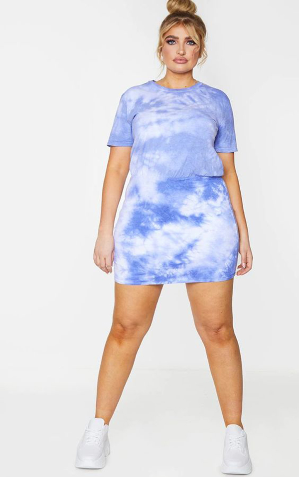 A purple tie-dye plus-size T-shirt dress.