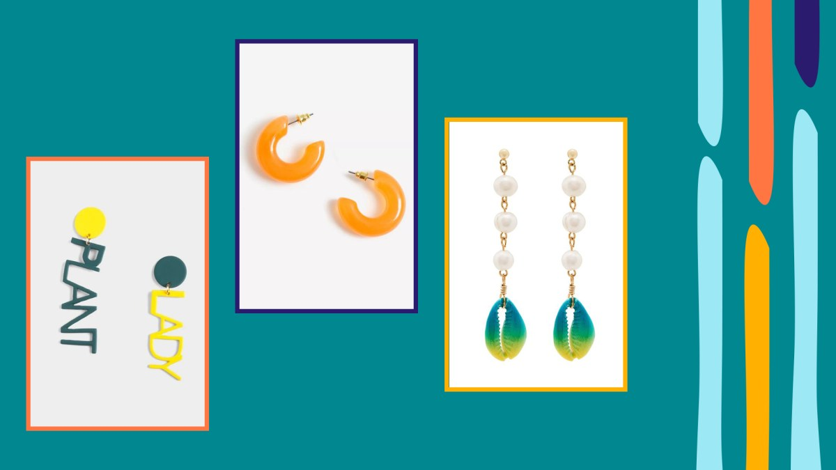 Three images of summer statement earrings in a colorful, graphic environment
