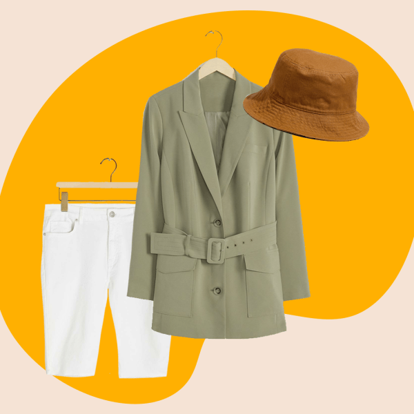 white shorts, green jacket blazer, brown bucket hat
