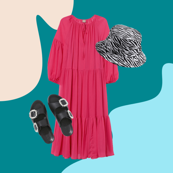 black sandals, pink maxi dress, zebra print bucket hat