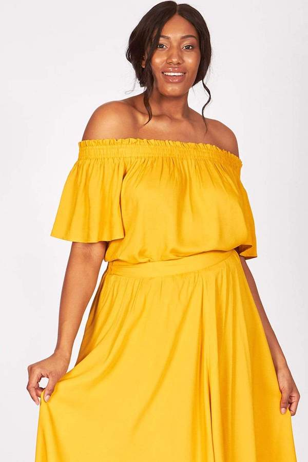 mustard yellow off-shoulder top
