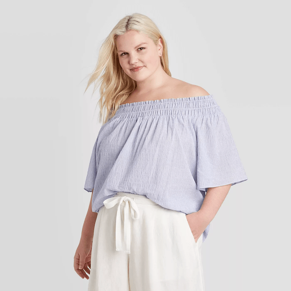 light blue off-shoulder top