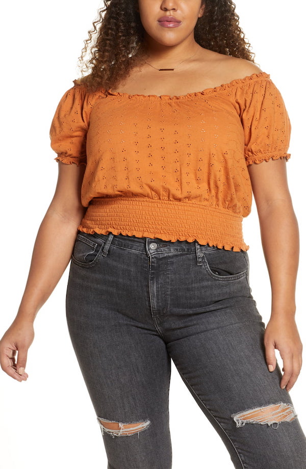 tan adobe puff sleeve off-shoulder blouse