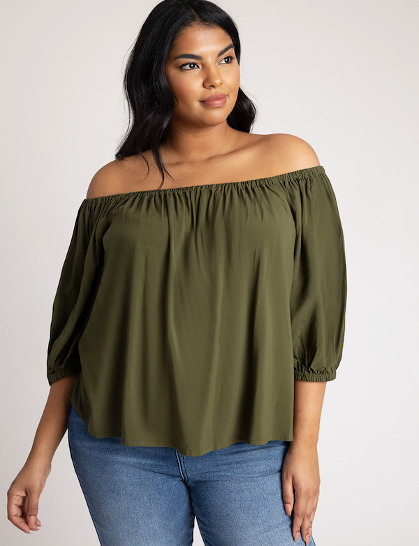 olive green off shoulder top
