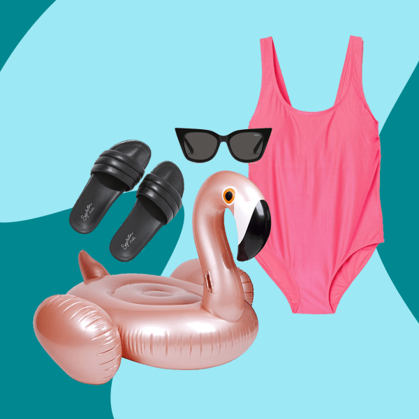A collage with black slide sandals, a pool float shaped like a flamingo, black cat-eye sunglasses, and a neon pink one-piece swimsuit.