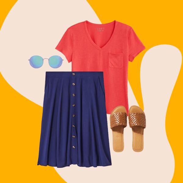 red t-shirt, blue skirt, blue sunglasses, brown sandals