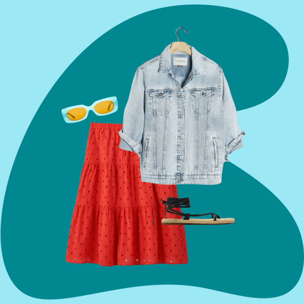 denim jacket, red midi skirt, black sandals and blue sunglasses