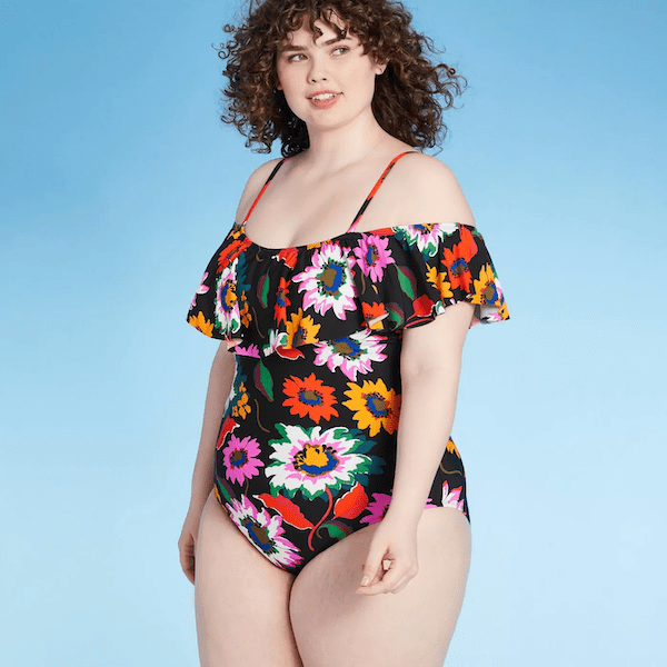 floral one-piece ruffle swimsuit