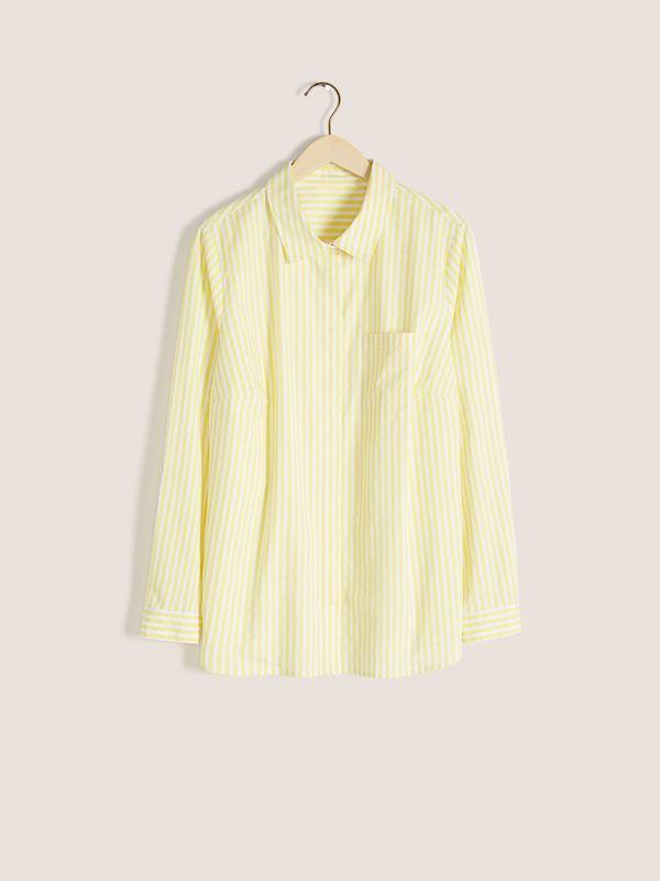 A yellow button down shirt.