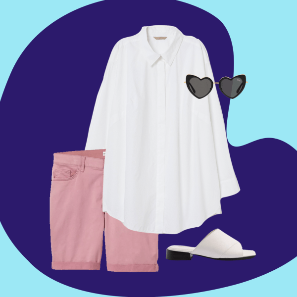 A collage with pink Bermuda shorts, a white button down, heart-shaped sunglasses, and white slides.
