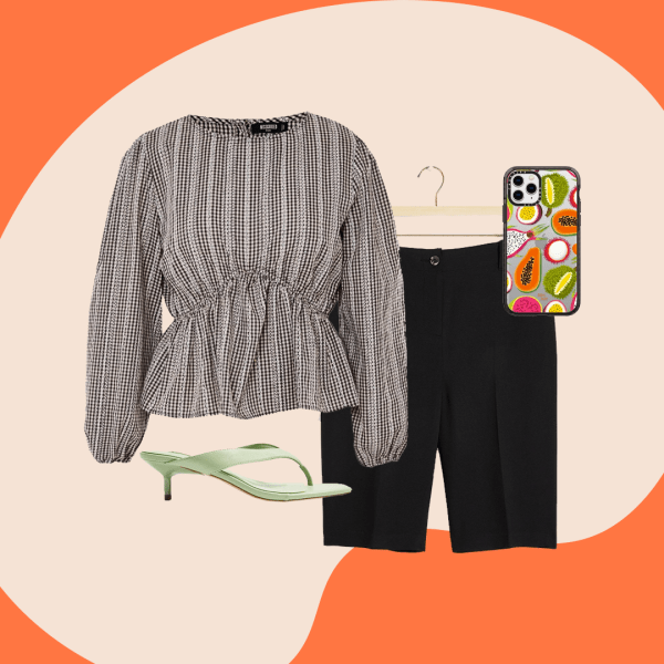 A collage with black Bermuda Shorts, a peplum striped blouse, green thong sandals, and a phone case with fruit on it.