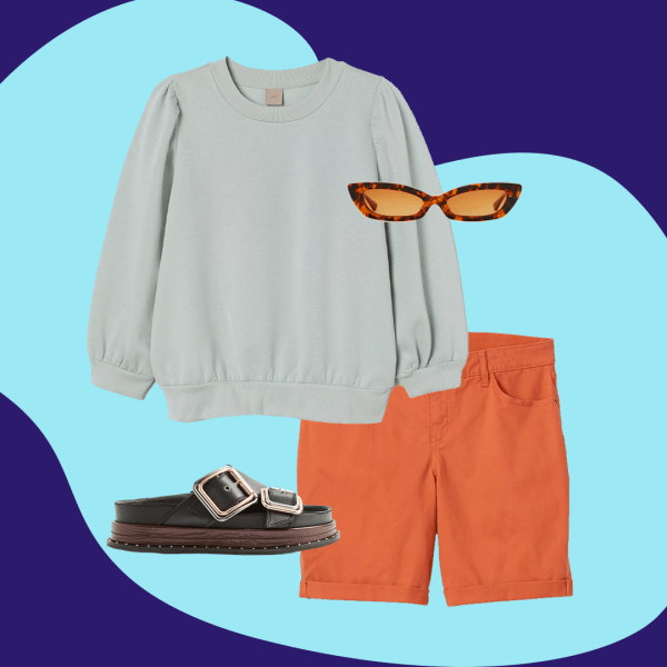 A collage of a sage green sweatshirt, orange Bermuda shorts, tortoise sunglasses, and chunky slide sandals.