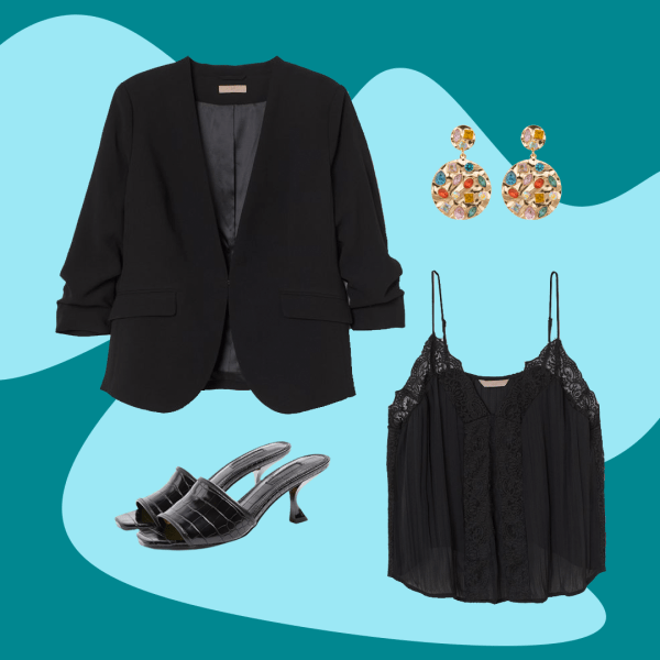 Collage of a black blazer, black cami, black mule heels, and multi colored statement earrings.