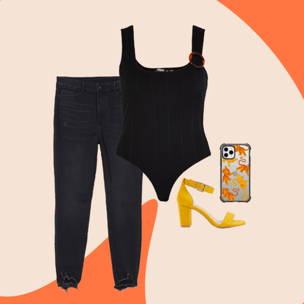 A collage of black jeans, a black bodysuit, mustard heels, and a phone case with tigers on it.