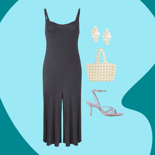 A collage of a dark gray jumpsuit, cream dangly earrings, pearl beaded bag, and lavender heels.