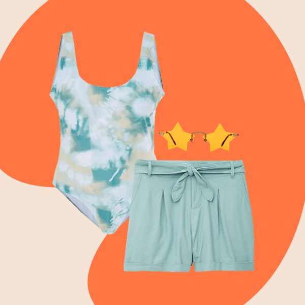 A collage with a green tie-dye swimsuit, teal shorts, and star-shaped sunglasses.