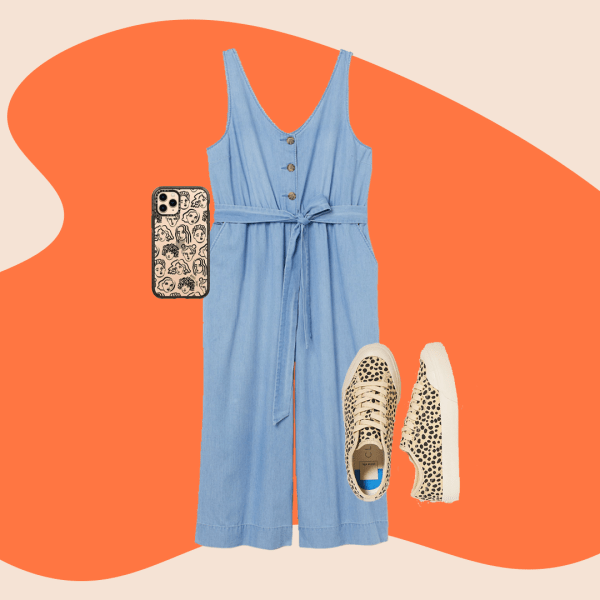 A collage with a denim jumpsuit, animal print sneakers, and a printed phone case.