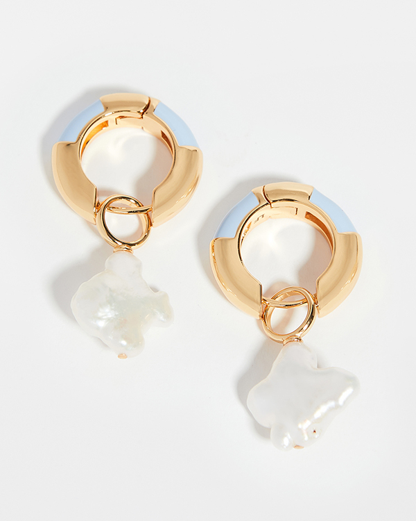 Gold hoop earrings with pearl drops and periwinkle enamel.