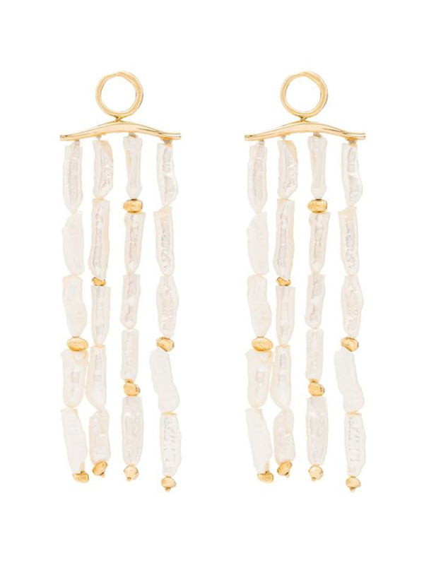 A pair of drop earrings with several strands of pearls hanging from them.