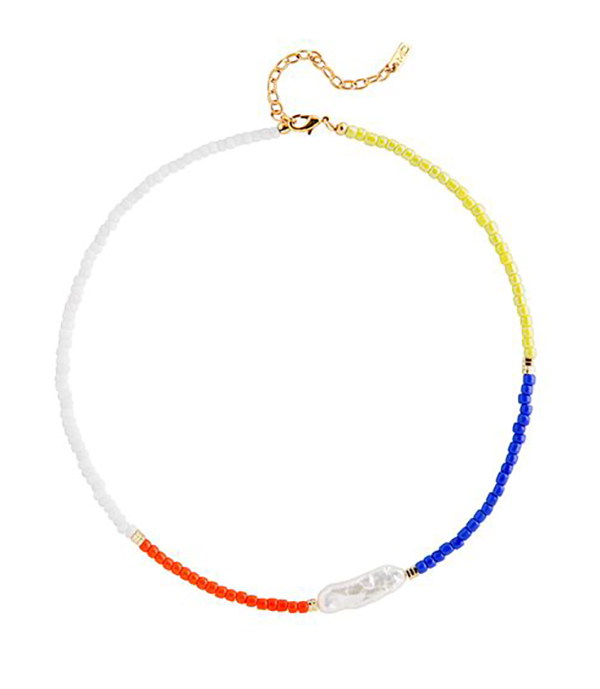 A choker crafted from a chunk of white seed beads, a chunk of red seed beads, a chunk of blue seed beads, a chunk of yellow seed beads, and a line of small pearls.
