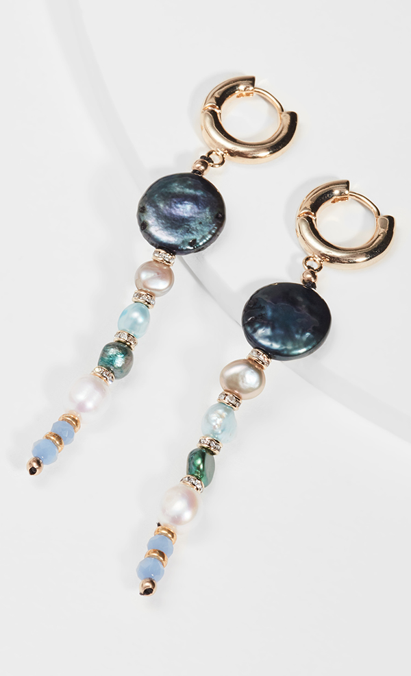 A pair of drop earrings crafted from blue, green, and charcoal pearls.