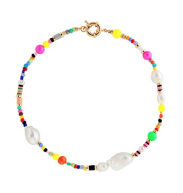 A rainbow beaded choker with pearls on it.