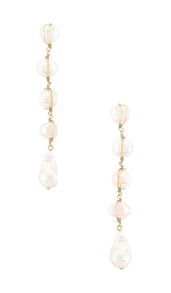 A pair of pearl drop earrings.