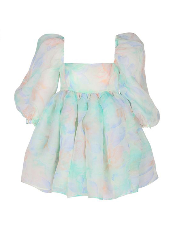 A plus-size pastel babydoll dress.