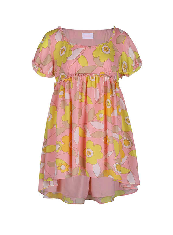 A plus-size floral babydoll dress.