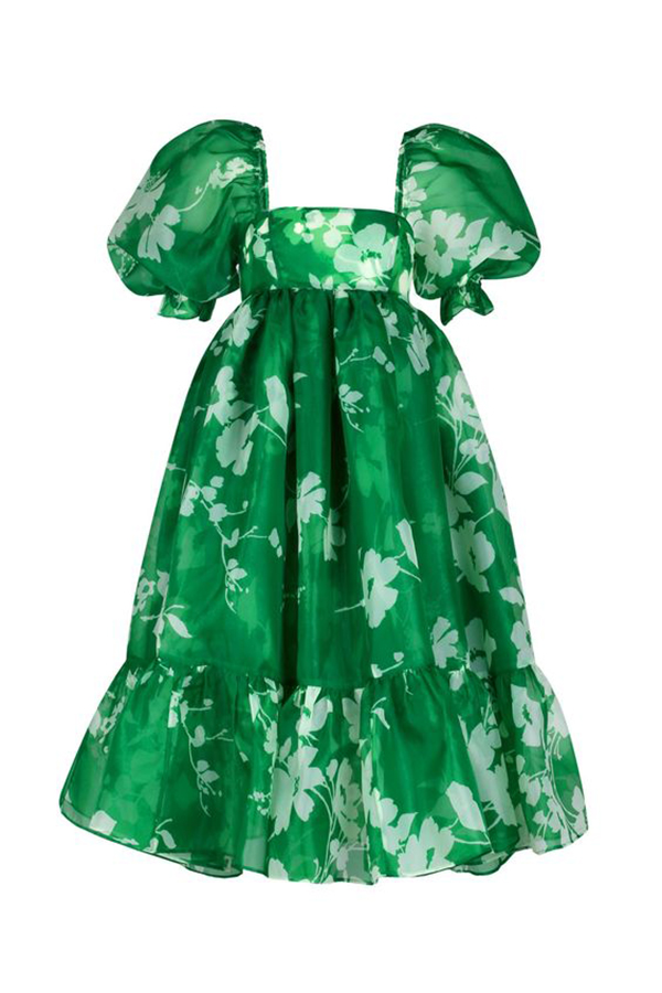 A plus-size green floral babydoll dress.