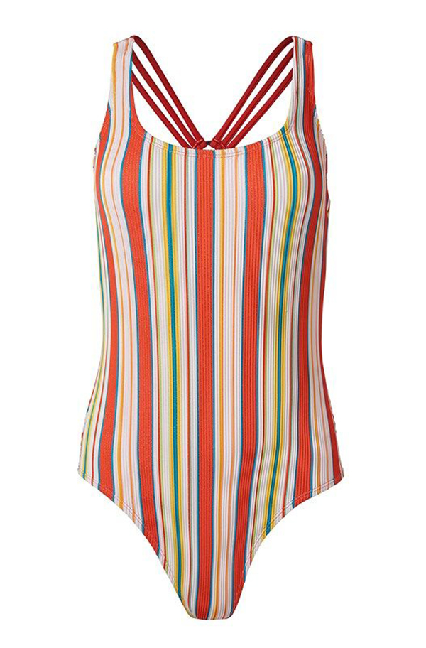 A plus-size striped one-piece swimsuit.