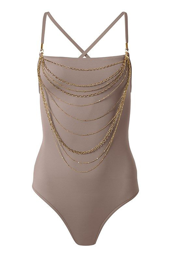 A plus-size taupe one-piece swimsuit with gold chain detailing.