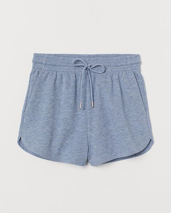 A pair of blue plus-size sweat shorts.