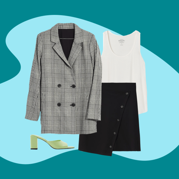 A collage with a plaid gray blazer, a white tank, black skirt, and green heels.