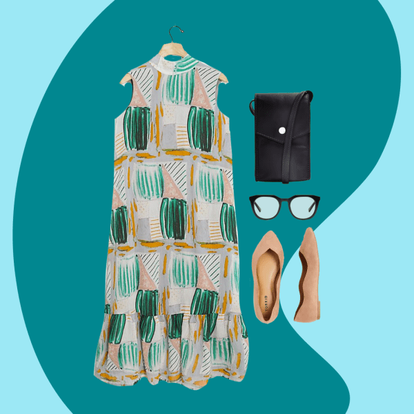A collage with a patterned green and gray dress, black small bag, glasses, and light pink flats.