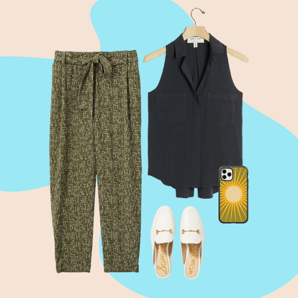 A collage with green patterned pants, black tank, white mules and phone case.