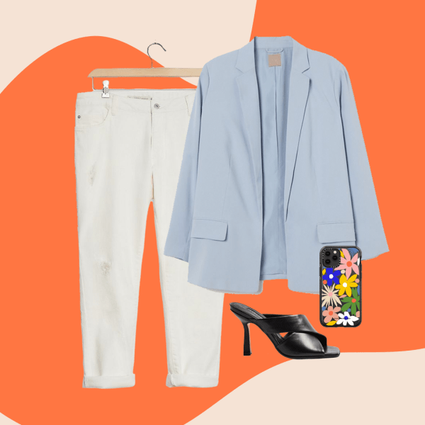 A collage with white jeans, a light blue blazer, black heels, and a floral phone case.