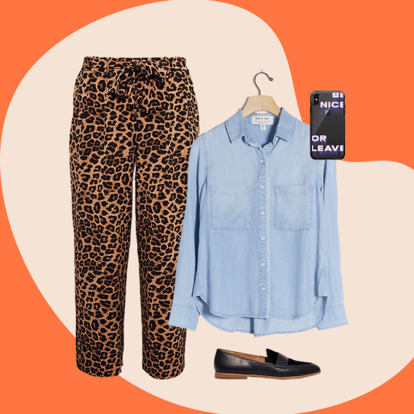 A collage with leopard print pants, denim shirt, black loafers, and a phone case
