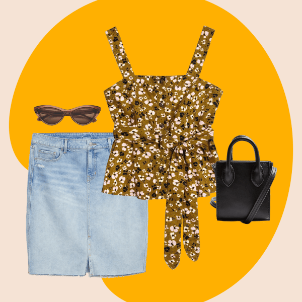 A collage with a plus-size denim skirt, floral tank top, black purse, and brown sunglasses.