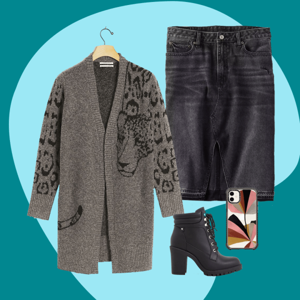 A collage with a black denim skirt, gray long sweater, heeled black booties, and a colorful phone case.