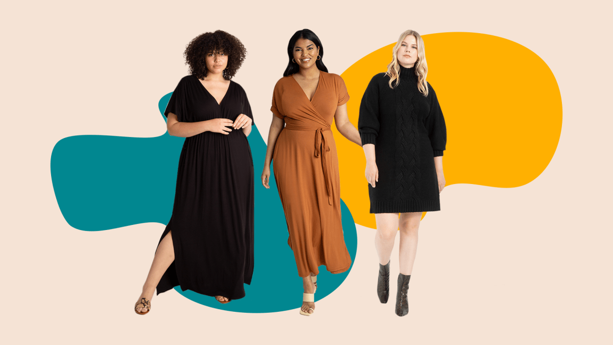 Three plus-size model wearing dresses that are currently for sale at Eloquii.