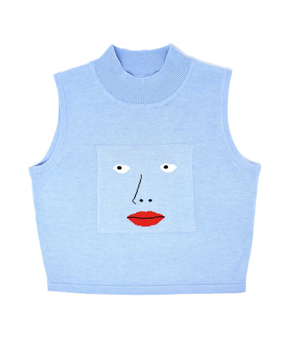 A plus-size blue knit tank with a face on it.