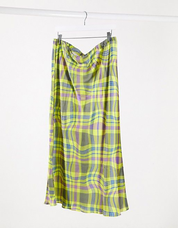A plus-size green plaid midi skirt.