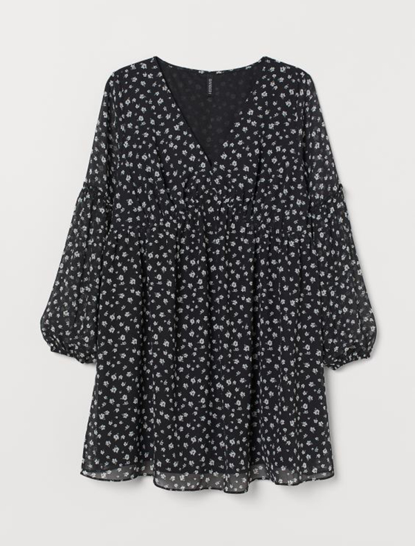 A plus-size floral mini dress.