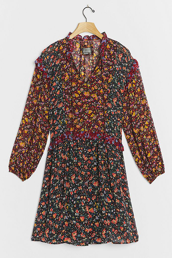 A plus-size floral patchwork dress.