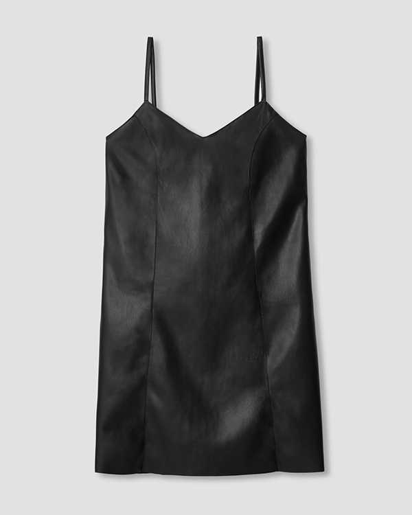 A plus-size black leather mini dress.