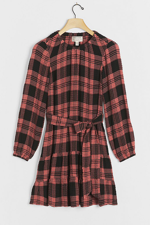 A plus-size plaid mini dress.