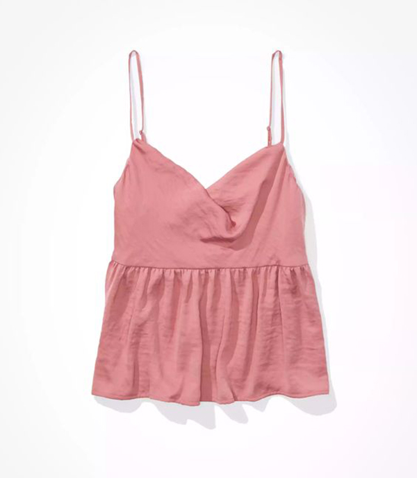A plus-size pink satin cami.